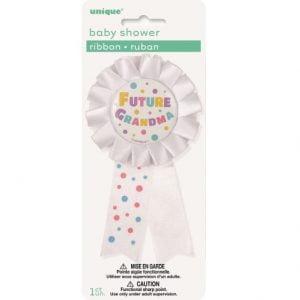 Future Grandma Award Ribbon Badge Baby Shower White 13920