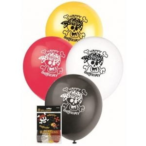 8pk Pirate Fun Latex Balloons 30cm 40505