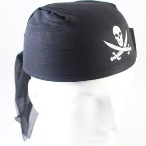 Black Pirate Party Hat Bandanna Style Pirate Cap with Skull 41-623