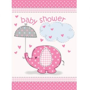 Umbrellaphant Baby Shower Girls Pink 8 Party Invitations With Envelopes 41674