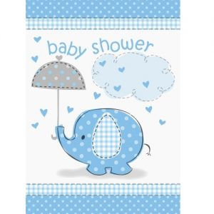 Umbrellaphant Baby Shower Boys Blue 8 Party Invitations With Envelopes 41714