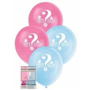 8pk Latex Balloons 30cm Gender Reveal Baby Shower Decorations 47395