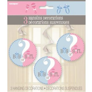 3 Hanging Swirls Decorations Gender Reveal Baby Shower 47400