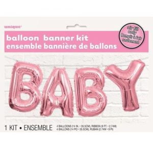 Letter Foil Balloons Banner Kit Baby Shower Girls Pink Party Decorations 53684