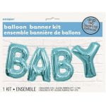 Letter Foil Balloons Banner Kit Baby Shower Boys Blue Party Decorations 53686