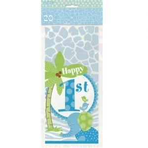 20pk 1st Birthday Blue Safari Jungle Cello Lolly Loot Party Bags 42611