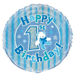 1st Birthday Boy Blue Bear Foil Balloon 45cm 55481