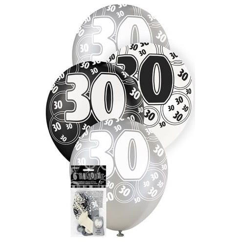 6pk 30th Birthday Latex Balloons Glitz Black Silver White 80894