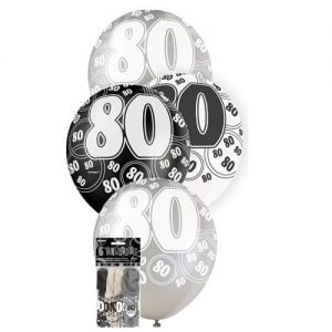 6pk 80th Birthday Latex Balloons Glitz Black Silver White 80920