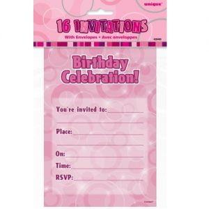 16pk Glitz Pink Birthday Party Invitations 28469