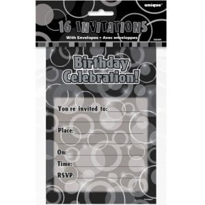 16pk Glitz Black Birthday Party Invitations 28489