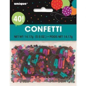 40th Birthday Confetti Table Decorations Multi-colour 45864