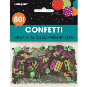 60th Birthday Confetti Table Decorations Multi-colour 45866