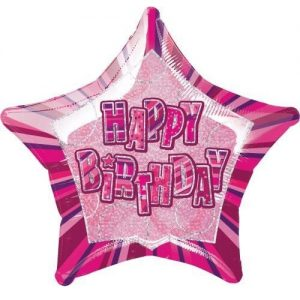 Happy Birthday Star Shape Foil Balloon 50cm Glitz Pink Silver 55101