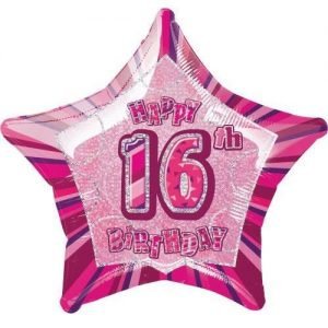 16th Birthday Star Shape Foil Balloon 50cm Glitz Pink Silver 55103