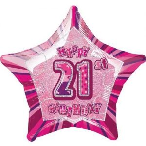 21st Birthday Star Shape Foil Balloon 50cm Glitz Pink Silver 55107