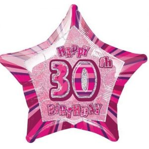 30th Birthday Star Shape Foil Balloon 50cm Glitz Pink Silver 55109