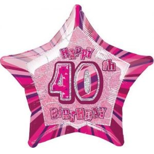 40th Birthday Star Shape Foil Balloon 50cm Glitz Pink Silver 55111