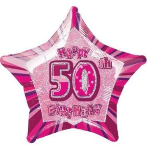 50th Birthday Star Shape Foil Balloon 50cm Glitz Pink Silver 55113
