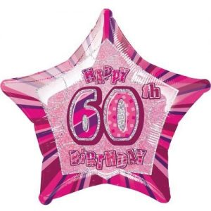 60th Birthday Star Shape Foil Balloon 50cm Glitz Pink Silver 55115