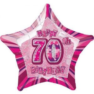 70th Birthday Star Shape Foil Balloon 50cm Glitz Pink Silver 55119