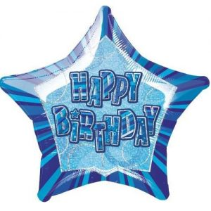Happy Birthday Star Shape Foil Balloon 50cm Glitz Blue Light Blue White 55121