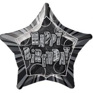 Star Shape Happy Birthday Foil Balloon 50cm Glitz Black Silver 55141
