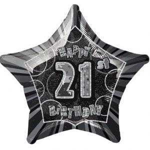 21st Birthday Star Shape Foil Balloon 50cm Glitz Black Silver 55147