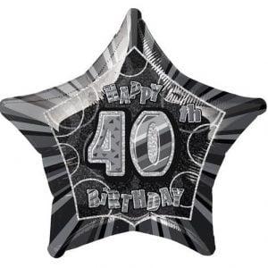 40th Birthday Star Shape Foil Balloon 50cm Glitz Black Silver 55151