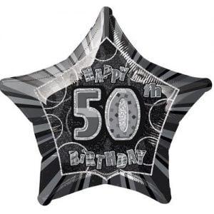 50th Birthday Star Shape Foil Balloon 50cm Glitz Black Silver 55153