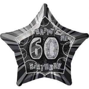 60th Birthday Star Shape Foil Balloon 50cm Glitz Black Silver 55155