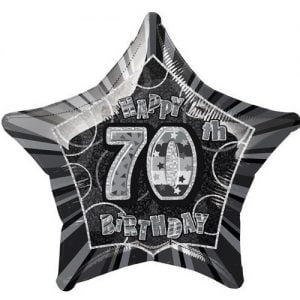70th Birthday Star Shape Foil Balloon 50cm Glitz Black Silver 55159