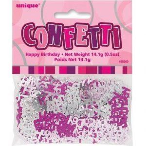 Happy Birthday Confetti Table Decorations Glitz Pink Silver 55200
