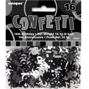 16th Birthday Confetti Table Decorations Glitz Black Silver 55221