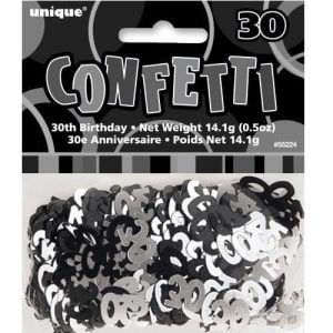 30th Birthday Confetti Table Decorations Glitz Black Silver 55224