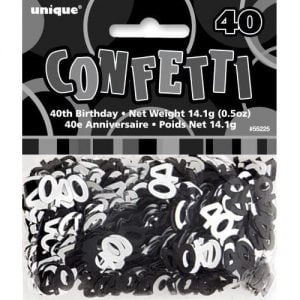 40th Birthday Confetti Table Decorations Glitz Black Silver 55225