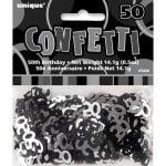 50th Birthday Confetti Table Decorations Glitz Black Silver 55226