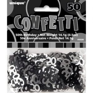 50th Birthday Confetti Table Decorations Glitz Black Silver 55226