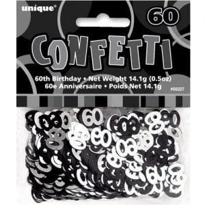 60th Birthday Confetti Table Decorations Glitz Black Silver 55227