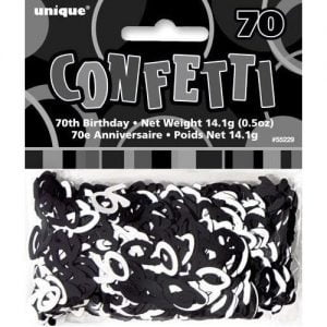 70th Birthday Confetti Table Decorations Glitz Black Silver 55229