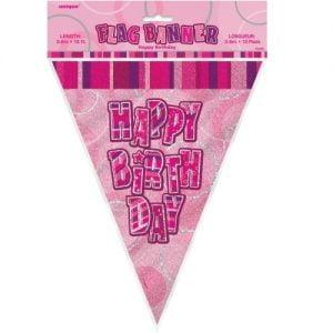 Happy Birthday Bunting Flag Banner 3.6m Glitz Pink Silver 55290