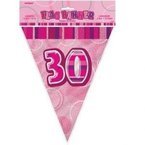 30th Birthday Bunting Flag Banner 3.6m Glitz Pink Silver 55294