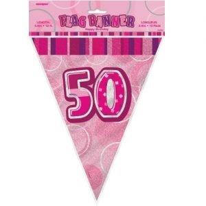 50th Birthday Bunting Flag Banner 3.6m Glitz Pink Silver 55296