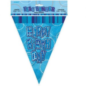 Happy Birthday Bunting Flag Banner 3.6m Glitz Blue Silver 55300