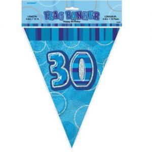 30th Birthday Bunting Flag Banner 3.6m Glitz Blue Silver 55304