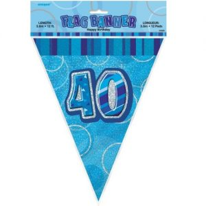 40th Birthday Bunting Flag Banner 3.6m Glitz Blue Silver 55305
