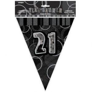21st Birthday Bunting Flag Banner 3.6m Glitz Black Silver 55313
