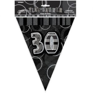 30th Birthday Bunting Flag Banner 3.6m Glitz Black Silver 55314