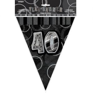 40th Birthday Bunting Flag Banner 3.6m Glitz Black Silver 55315