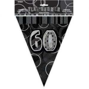 60th Birthday Bunting Flag Banner 3.6m Glitz Black Silver 55317